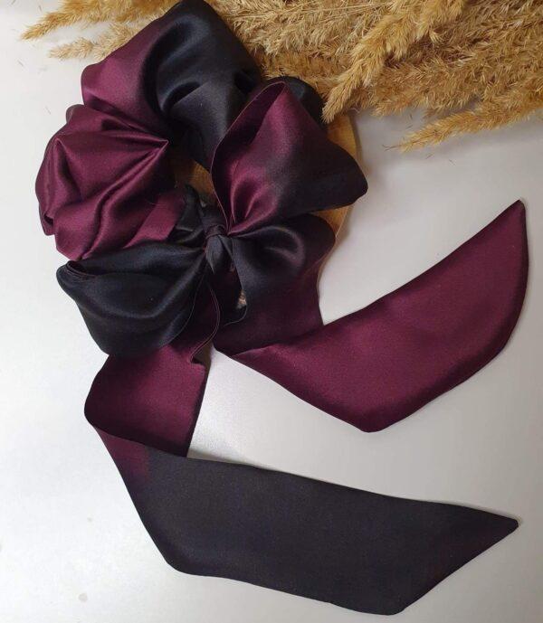 czarno-bakłążanowa scrunchie