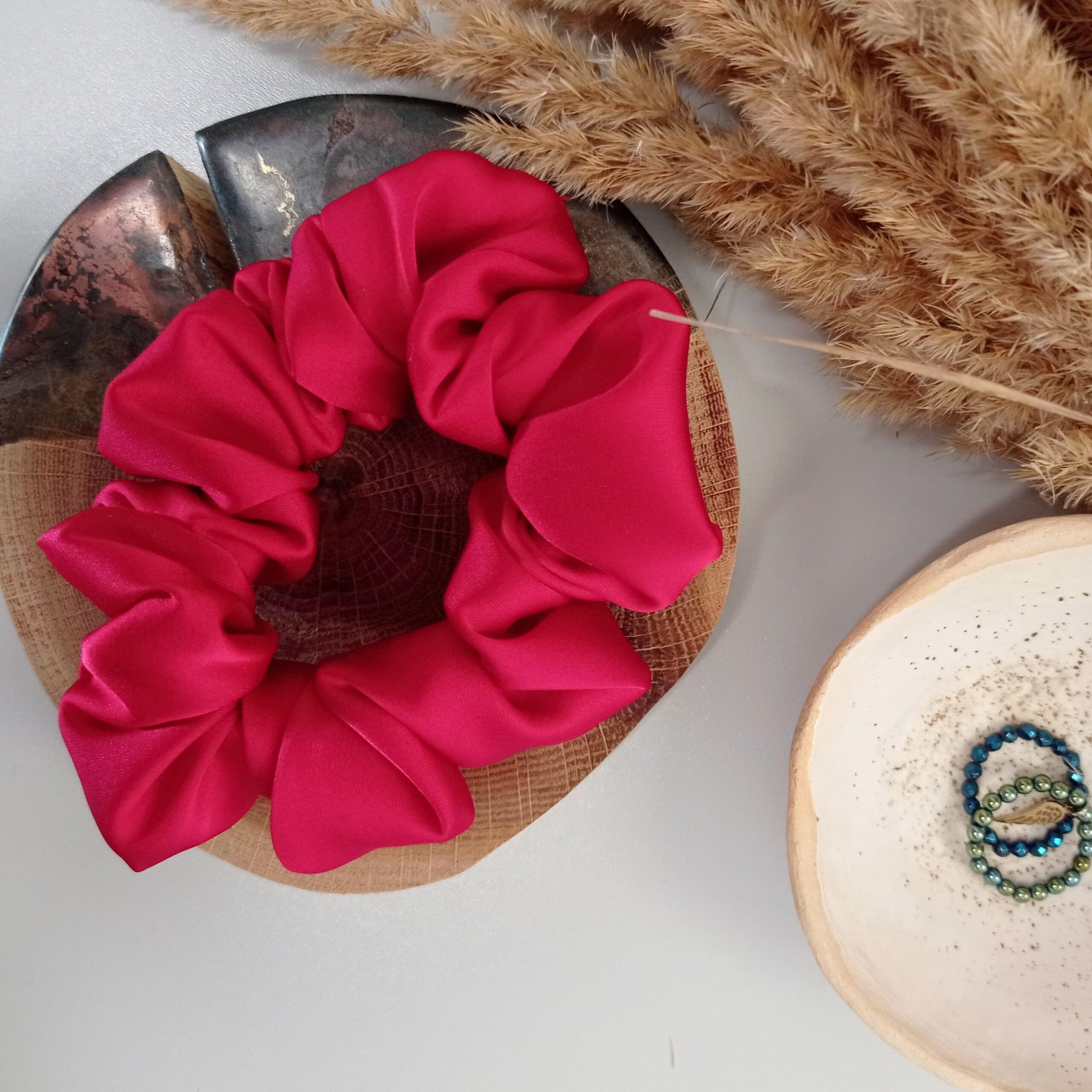 scrunchie koralowa_dostępna w Degustacja.sklep