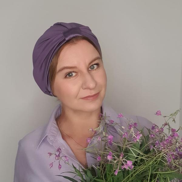 jedwabny turban kolor lawenda_600x600_dostępny w degustacja.sklep